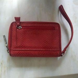 Fossil red leather wristlet wallet billfold